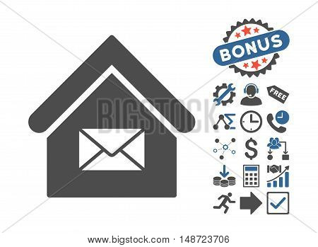 Post Office icon with bonus images. Vector illustration style is flat iconic bicolor symbols, cobalt and gray colors, white background.