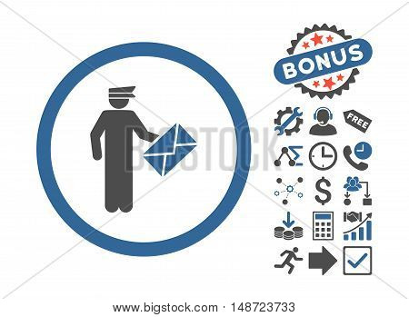 Postman pictograph with bonus symbols. Vector illustration style is flat iconic bicolor symbols, cobalt and gray colors, white background.