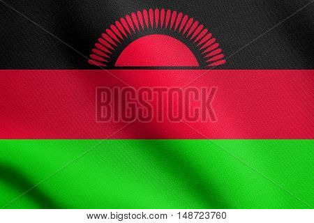 Malawian national official flag. African patriotic symbol banner element background. Flag of Malawi waving in the wind with detailed fabric texture, illustration