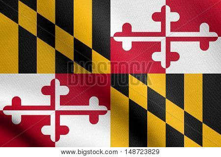 Maryland official flag symbol. American patriotic element. USA banner. United States of America background. Flag of the US state of Maryland waving in the wind with detailed fabric texture, illustration