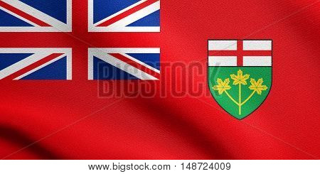 Ontarian provincial flag patriotic element and official symbol. Canada banner and background. Flag of the Canadian province of Ontario waving in the wind with detailed fabric texture, illustration