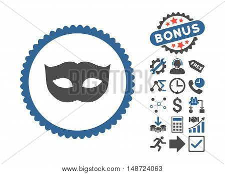 Privacy Mask pictograph with bonus pictures. Vector illustration style is flat iconic bicolor symbols, cobalt and gray colors, white background.