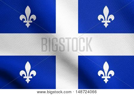 Canadian provincial flag QC patriotic element and official symbol. Canada Quebec banner and background. Flag of the Canadian province of Quebec waving in the wind with detailed fabric texture, illustration