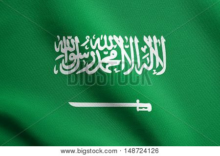 Saudi Arabian national official flag. Patriotic symbol banner element background. Flag of Saudi Arabia waving in the wind with detailed fabric texture, illustration