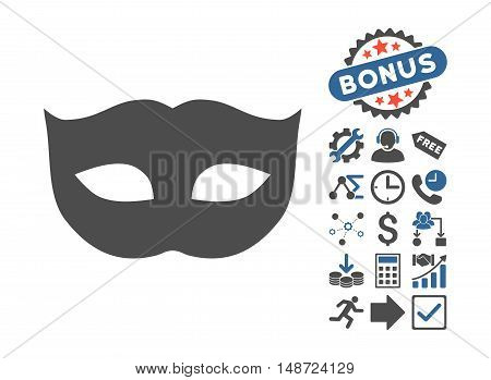 Privacy Mask pictograph with bonus pictograph collection. Vector illustration style is flat iconic bicolor symbols, cobalt and gray colors, white background.