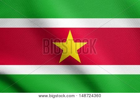 Surinamese national official flag. Patriotic symbol banner element background. Flag of Suriname waving in the wind with detailed fabric texture, illustration