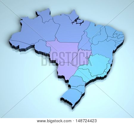 Brazil 3D country geographical location Brazilian states