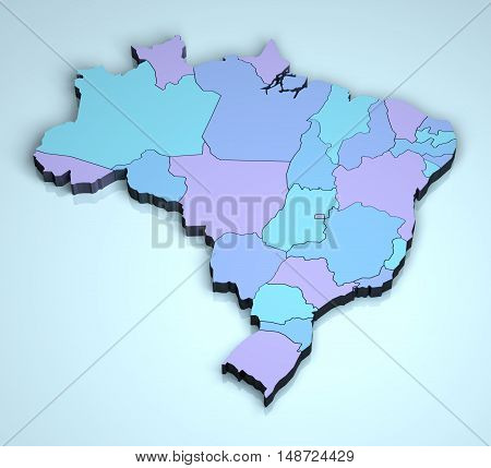 Brazil 3D shape geographical illustration country states