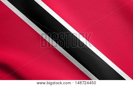 Trinidadian and Tobagonian national official flag. Patriotic symbol banner element background. Flag of Trinidad and Tobago waving in the wind with detailed fabric texture, illustration
