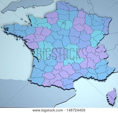 France 3D europe map digital carthography illustration rendering
