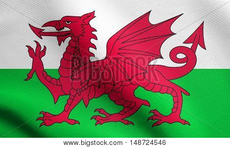 Welsh national official flag. Patriotic symbol banner element background. Flag of Wales waving in the wind with detailed fabric texture, illustration