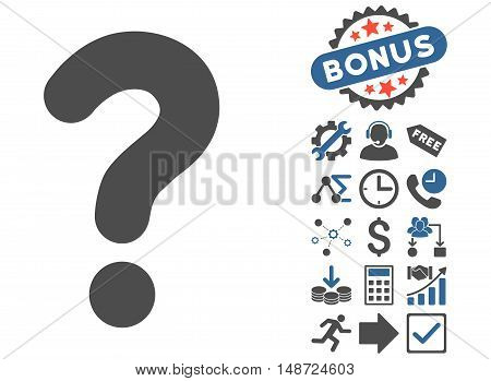 Question icon with bonus images. Vector illustration style is flat iconic bicolor symbols, cobalt and gray colors, white background.