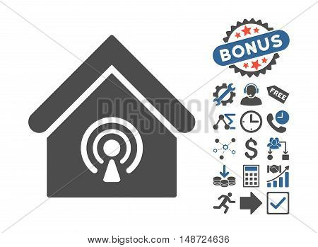 Radio Station pictograph with bonus clip art. Vector illustration style is flat iconic bicolor symbols, cobalt and gray colors, white background.
