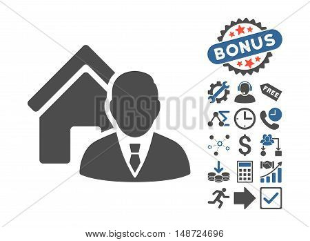 Realtor pictograph with bonus symbols. Vector illustration style is flat iconic bicolor symbols, cobalt and gray colors, white background.
