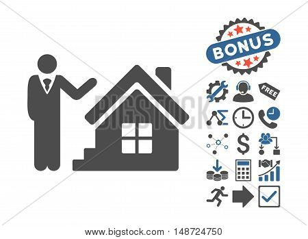 Realty Agent pictograph with bonus pictograph collection. Vector illustration style is flat iconic bicolor symbols, cobalt and gray colors, white background.