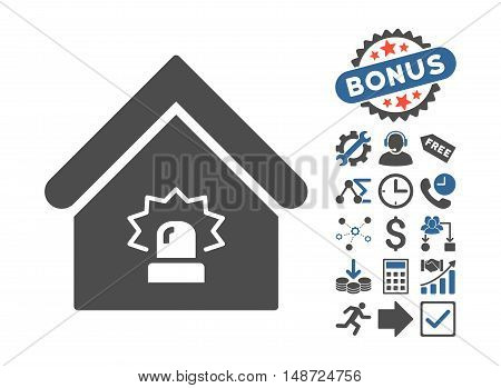 Realty Alarm icon with bonus symbols. Vector illustration style is flat iconic bicolor symbols, cobalt and gray colors, white background.