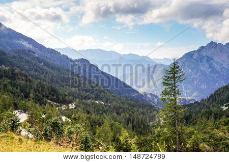 View of Julian Alps from Vrsic Pass in Slovenia