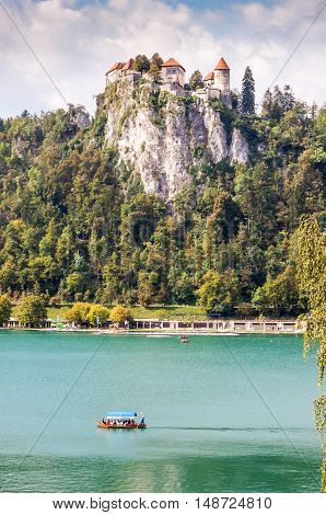Lake Bled with an island and Bled castle Slovenia.