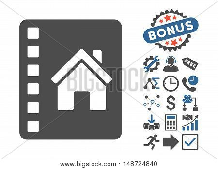 Realty Catalog icon with bonus icon set. Vector illustration style is flat iconic bicolor symbols, cobalt and gray colors, white background.