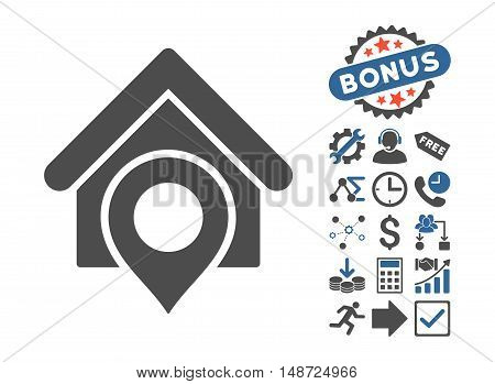 Realty Location pictograph with bonus symbols. Vector illustration style is flat iconic bicolor symbols, cobalt and gray colors, white background.