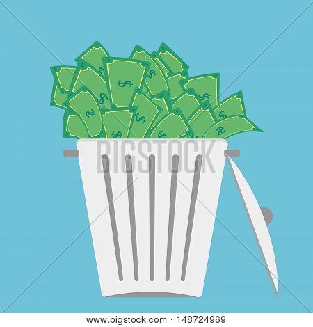 Large trash bin overflowing money bill. Concept.