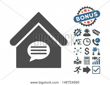 Realty Message pictograph with bonus design elements. Vector illustration style is flat iconic bicolor symbols, cobalt and gray colors, white background.