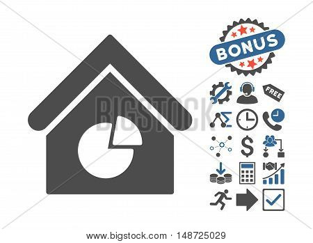 Realty Pie Chart pictograph with bonus clip art. Vector illustration style is flat iconic bicolor symbols, cobalt and gray colors, white background.