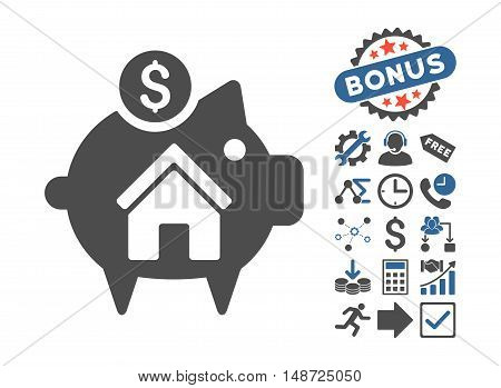 Realty Piggy Bank icon with bonus pictures. Vector illustration style is flat iconic bicolor symbols, cobalt and gray colors, white background.