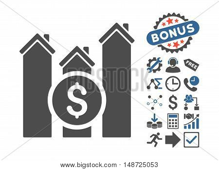 Realty Price Charts icon with bonus design elements. Vector illustration style is flat iconic bicolor symbols, cobalt and gray colors, white background.