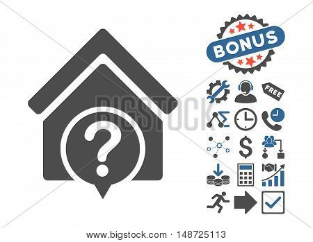 Realty State pictograph with bonus pictures. Vector illustration style is flat iconic bicolor symbols, cobalt and gray colors, white background.