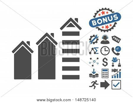 Realty Trend pictograph with bonus elements. Vector illustration style is flat iconic bicolor symbols, cobalt and gray colors, white background.