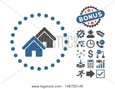 Realty icon with bonus design elements. Vector illustration style is flat iconic bicolor symbols, cobalt and gray colors, white background.