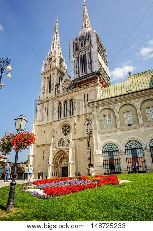 Zagreb Croatia - Sept 9 2014. The Cathedral in Zagreb Croatia