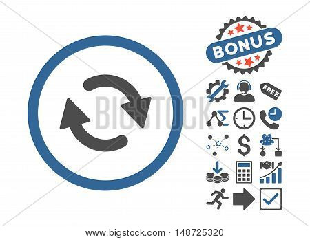 Refresh icon with bonus icon set. Vector illustration style is flat iconic bicolor symbols, cobalt and gray colors, white background.