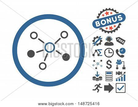 Relations icon with bonus symbols. Vector illustration style is flat iconic bicolor symbols, cobalt and gray colors, white background.