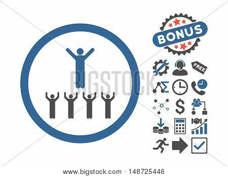 Religion Adepts pictograph with bonus images. Vector illustration style is flat iconic bicolor symbols, cobalt and gray colors, white background.
