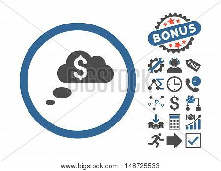 Richness Dream Clouds pictograph with bonus pictograph collection. Vector illustration style is flat iconic bicolor symbols, cobalt and gray colors, white background.