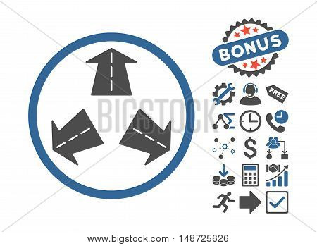 Road Directions icon with bonus pictograph collection. Vector illustration style is flat iconic bicolor symbols, cobalt and gray colors, white background.