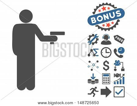 Robber With Gun icon with bonus pictograph collection. Vector illustration style is flat iconic bicolor symbols, cobalt and gray colors, white background.