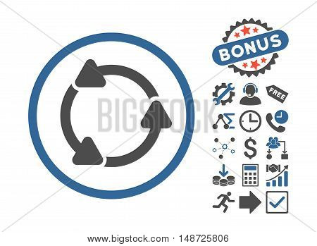 Rotate CCW icon with bonus symbols. Vector illustration style is flat iconic bicolor symbols, cobalt and gray colors, white background.