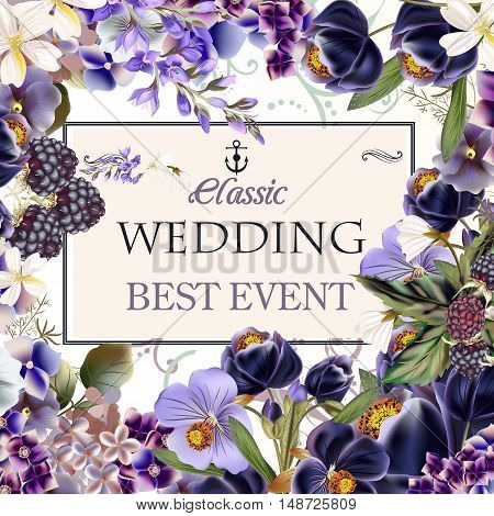 Beautiful wedding invitation card with purple flowers