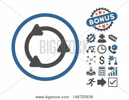 Rotate icon with bonus pictures. Vector illustration style is flat iconic bicolor symbols, cobalt and gray colors, white background.