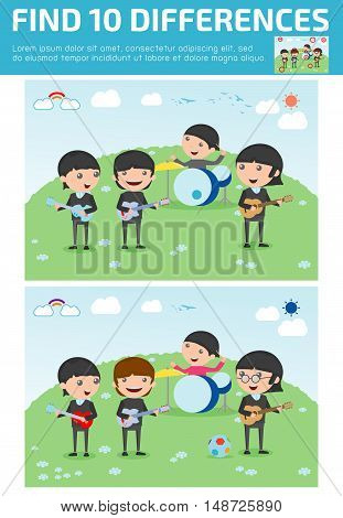 find differences,Game for kids ,find differences,Brain games, children game, Educational Game for Preschool Children, four kids in a music band, Vector Illustration,