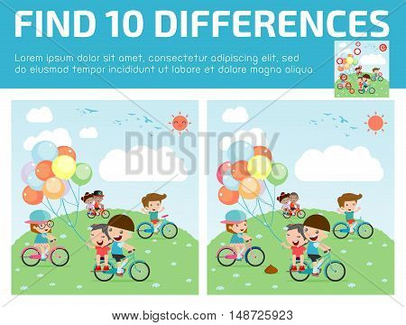 find differences,Game for kids ,find differences,Brain games, children game, Educational Game for Preschool Children, Vector Illustration, Kids riding bikes