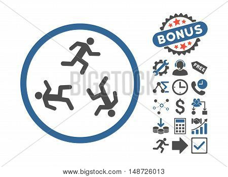 Running Men pictograph with bonus symbols. Vector illustration style is flat iconic bicolor symbols, cobalt and gray colors, white background.