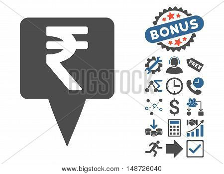 Rupee Map Pointer pictograph with bonus elements. Vector illustration style is flat iconic bicolor symbols, cobalt and gray colors, white background.