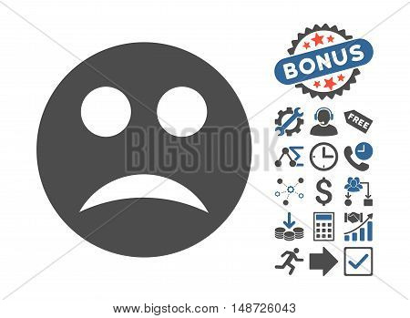Sad icon with bonus icon set. Vector illustration style is flat iconic bicolor symbols, cobalt and gray colors, white background.