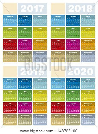 Colorful Calendar for Years 2017 2018 2019 and 2020 in vector format.