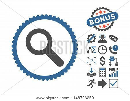 Search icon with bonus clip art. Vector illustration style is flat iconic bicolor symbols, cobalt and gray colors, white background.