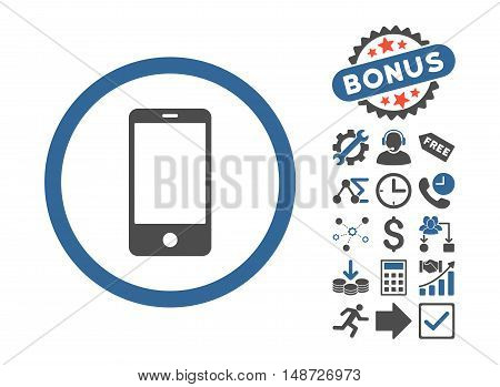 Smartphone pictograph with bonus design elements. Vector illustration style is flat iconic bicolor symbols, cobalt and gray colors, white background.
